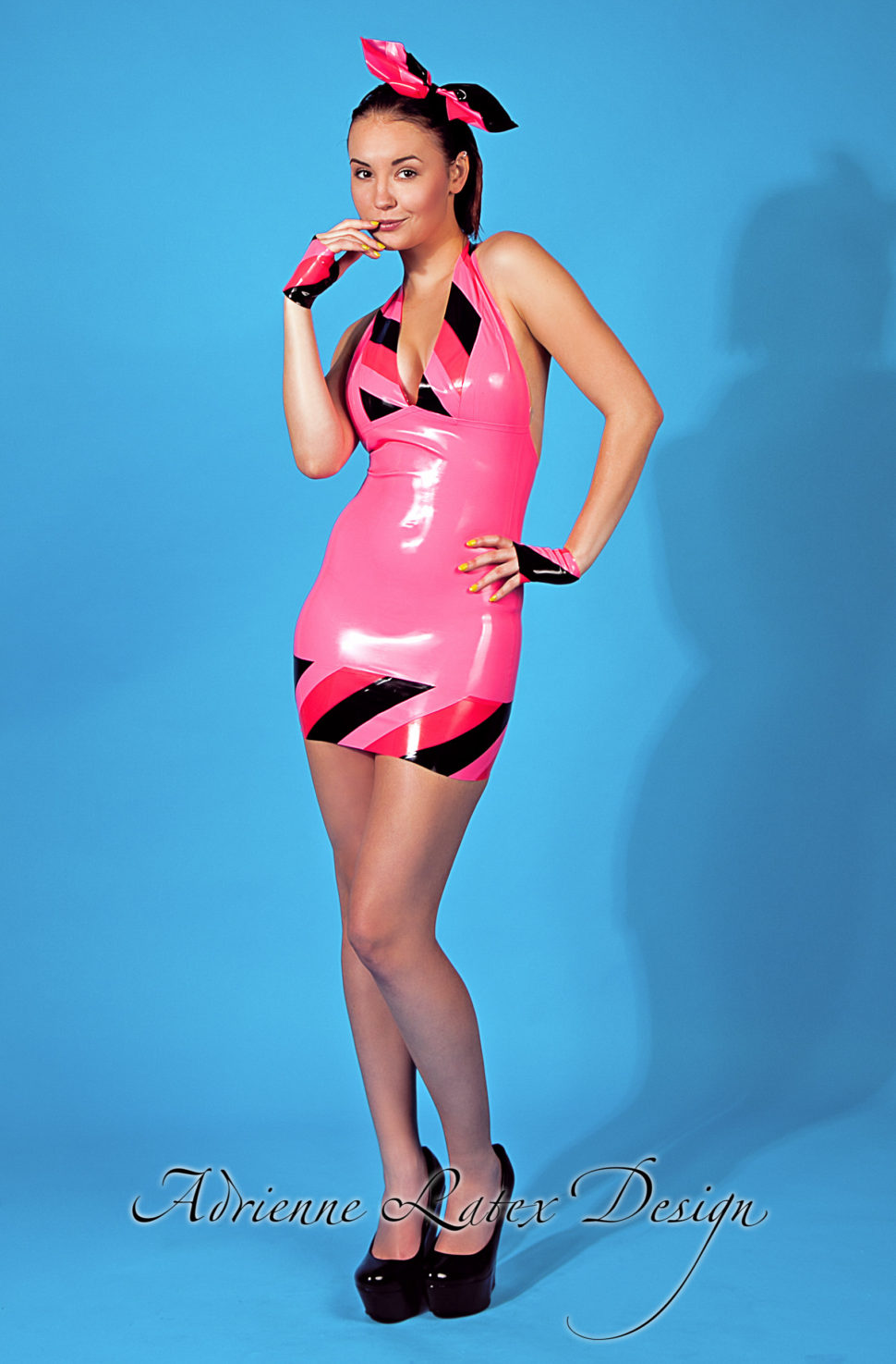 Pink candy latex dress by Adrienne