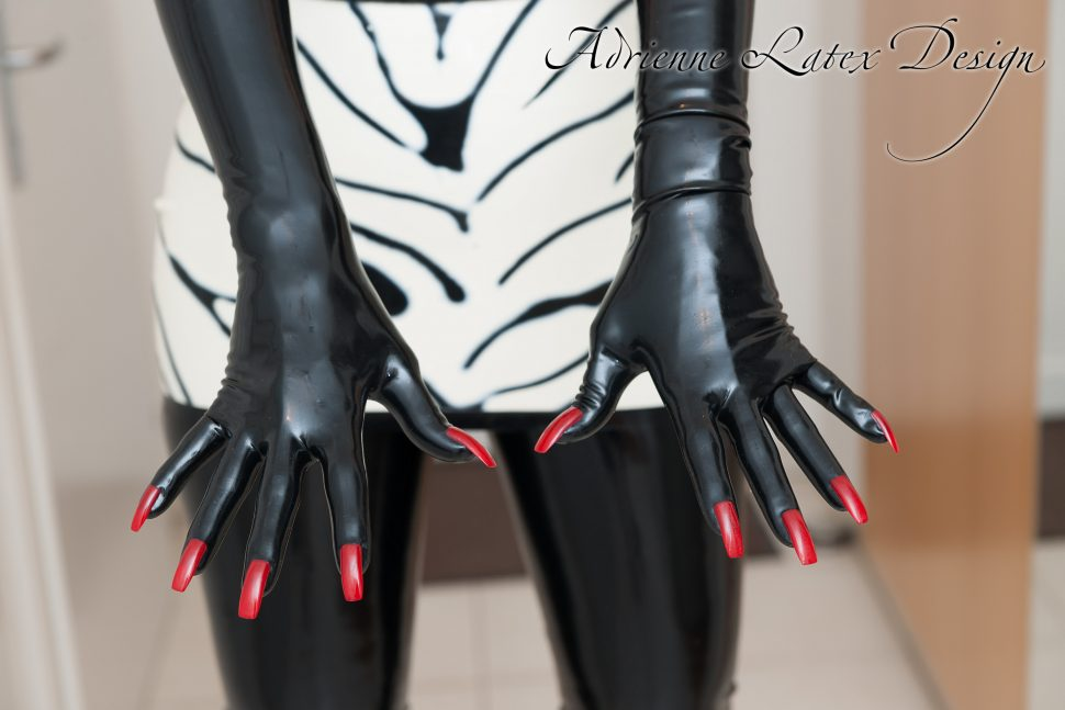 llatex gloves with red nails