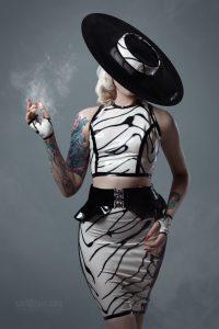 Stephanie in latex dress