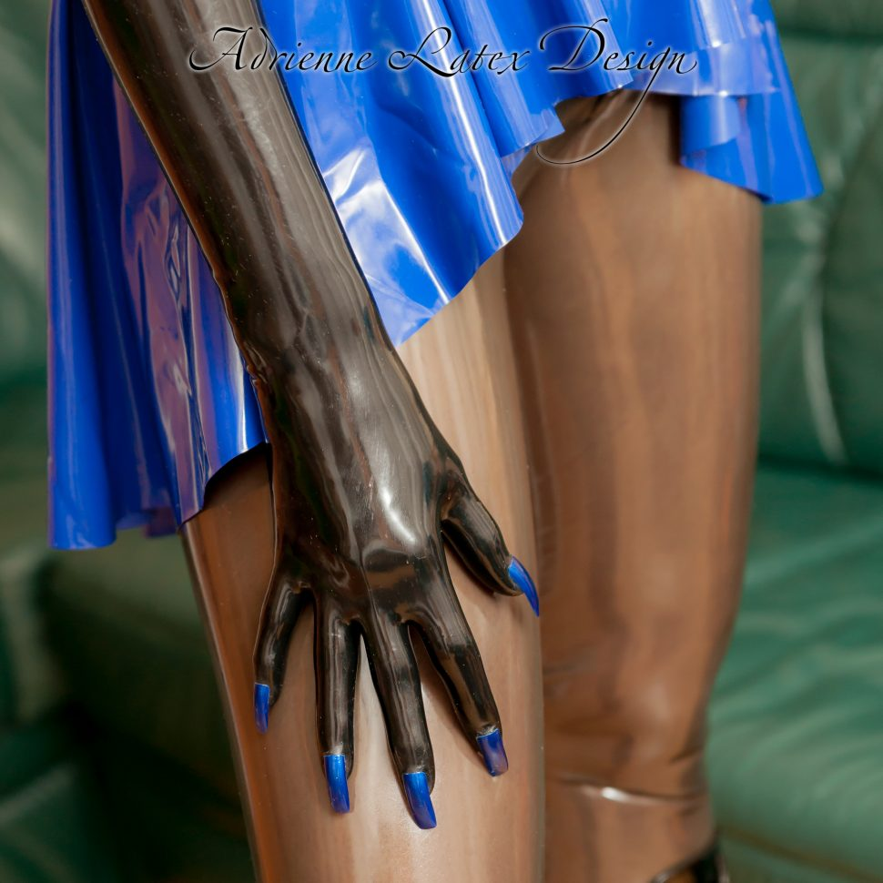 Latex gloves with blue nails