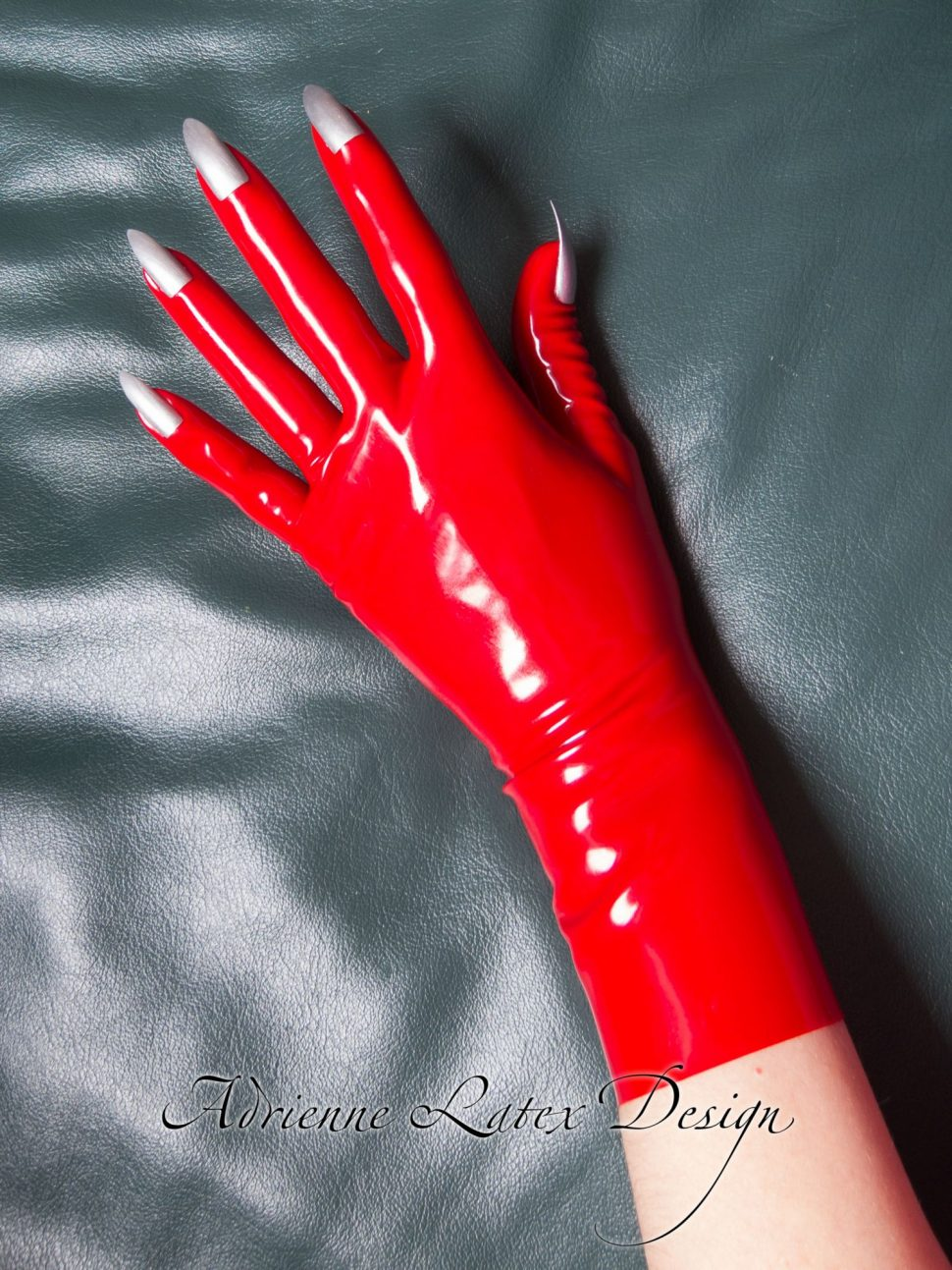 Red latex gloves with nails