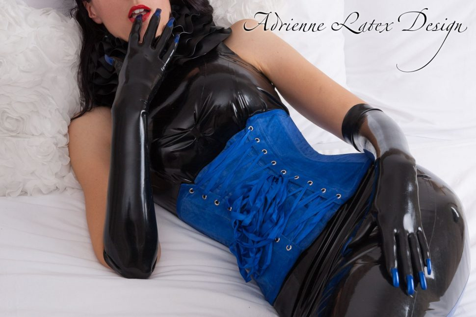 Latex gloves with blue nails by Adrienne